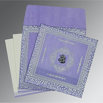 Purple Wooly Glitter Wedding Card : AC-8205F - IndianWeddingCards