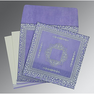 Purple Wooly Glitter Wedding Card : AD-8205F - IndianWeddingCards