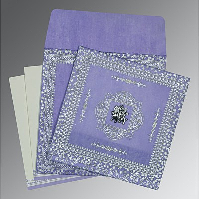 Purple Wooly Glitter Wedding Card : AG-8205F - IndianWeddingCards
