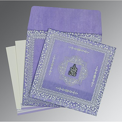 Purple Wooly Glitter Wedding Card : AW-8205F - IndianWeddingCards