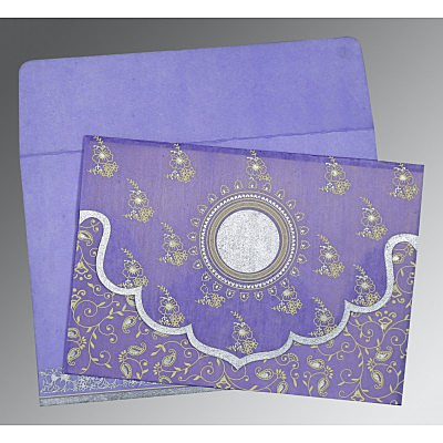 Purple Wooly Screen Printed Wedding Invitation : AD-8207D - IndianWeddingCards