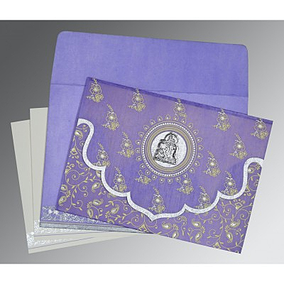 Purple Wooly Screen Printed Wedding Invitation : AG-8207D - IndianWeddingCards