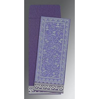 Purple Wooly Screen Printed Wedding Invitation : AI-8220P - IndianWeddingCards