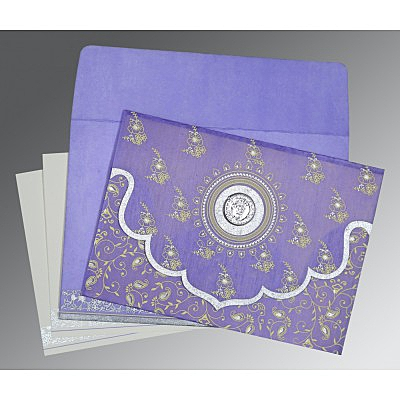 Purple Wooly Screen Printed Wedding Invitation : AS-8207D - IndianWeddingCards