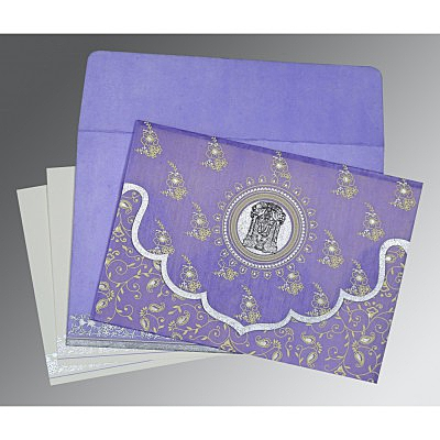 Purple Wooly Screen Printed Wedding Invitation : ASO-8207D - IndianWeddingCards