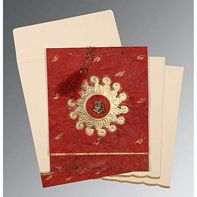 Red Handmade Cotton Embossed Wedding Invitations : AC-1264 - A2zWeddingCards