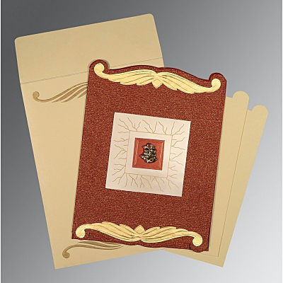Red Handmade Cotton Embossed Wedding Invitations : AC-1412 - A2zWeddingCards