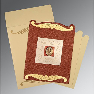 Red Handmade Cotton Embossed Wedding Invitations : AI-1412 - A2zWeddingCards