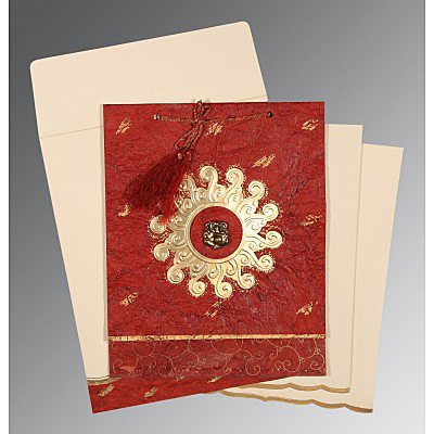 Red Handmade Cotton Embossed Wedding Invitation : AIN-1264