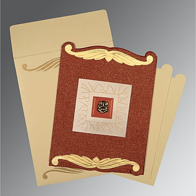 Red Handmade Cotton Embossed Wedding Card : AIN-1412