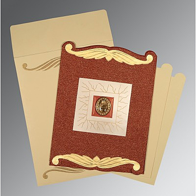 Red Handmade Cotton Embossed Wedding Card : ARU-1412