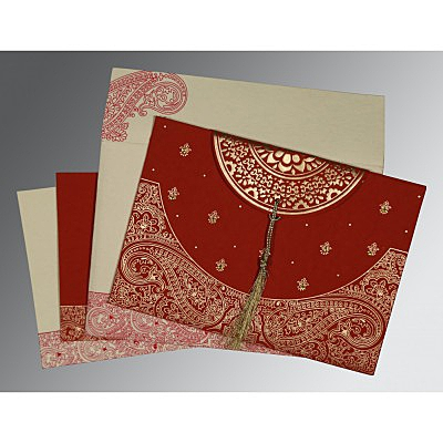 Red Handmade Cotton Embossed Wedding Card : ARU-8234L - IndianWeddingCards