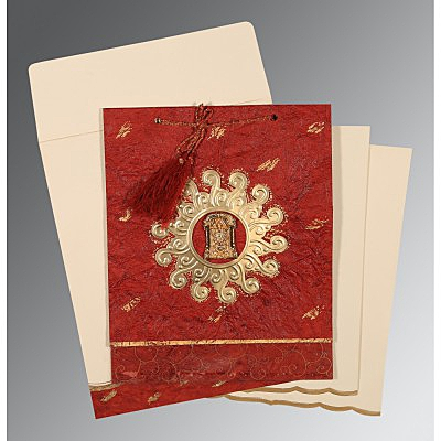 Red Handmade Cotton Embossed Wedding Invitations : ASO-1264 - A2zWeddingCards