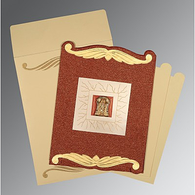 Red Handmade Cotton Embossed Wedding Invitations : ASO-1412 - A2zWeddingCards