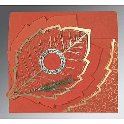 Red Handmade Cotton Floral Themed - Foil Stamped Wedding Card : AI-8219I - IndianWeddingCards
