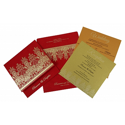 Red Matte Embossed Wedding Invitation : AI-1780 - A2zWeddingCards