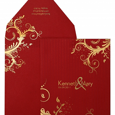 Red Matte Floral Themed - Screen Printed Wedding Invitation : AW-833