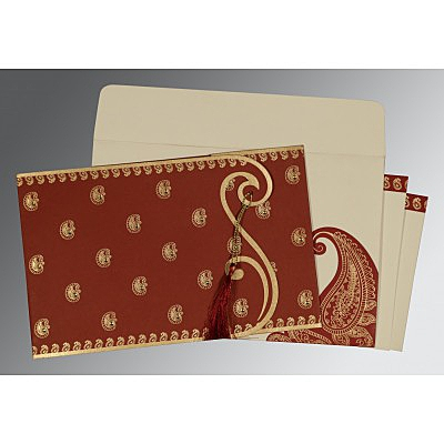 Red Matte Paisley Themed - Screen Printed Wedding Invitation : ASO-8252A - IndianWeddingCards