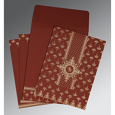 Red Matte Screen Printed Wedding Invitation : AI-8247D - IndianWeddingCards