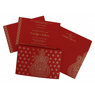 Red Paisley Themed - Screen Printed Wedding Invitation : ASO-801B - A2zWeddingCards