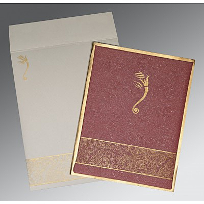 Red Shimmer Wooly Box Themed - Screen Printed Wedding Card : AIN-2170