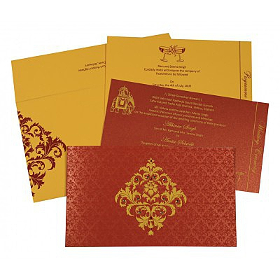 Red Shimmery Damask Themed - Screen Printed Wedding Card : AG-8257D - IndianWeddingCards