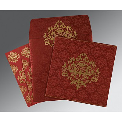 Red Shimmery Damask Themed - Screen Printed Wedding Card : AI-8254B - IndianWeddingCards