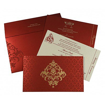 Red Shimmery Damask Themed - Screen Printed Wedding Card : AW-8257H - IndianWeddingCards