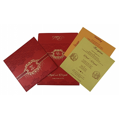 Red Shimmery Embossed Wedding Invitations : ASO-1778 - A2zWeddingCards