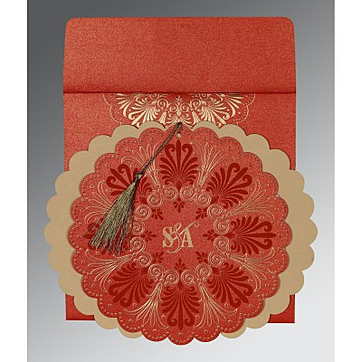 Red Shimmery Floral Themed - Embossed Wedding Card : AG-8238I - IndianWeddingCards