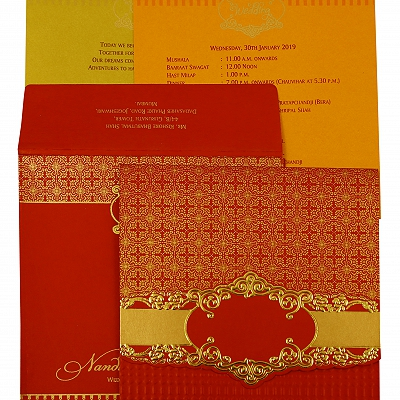 Red Shimmery Floral Themed - Foil Stamped Wedding Invitation : AIN-1890