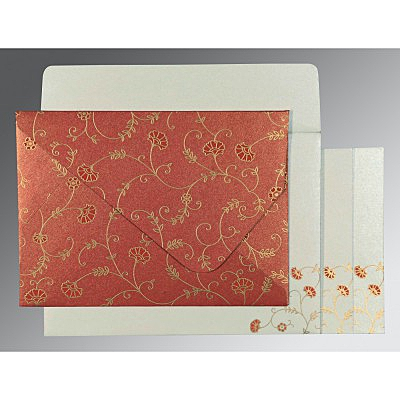 Red Shimmery Floral Themed - Screen Printed Wedding Invitation : AC-8248A - IndianWeddingCards