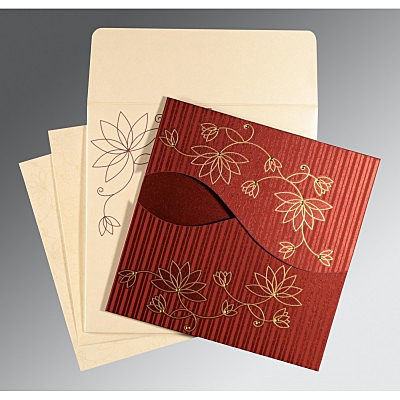Red Shimmery Floral Themed - Screen Printed Wedding Invitation : AC-8251L - IndianWeddingCards
