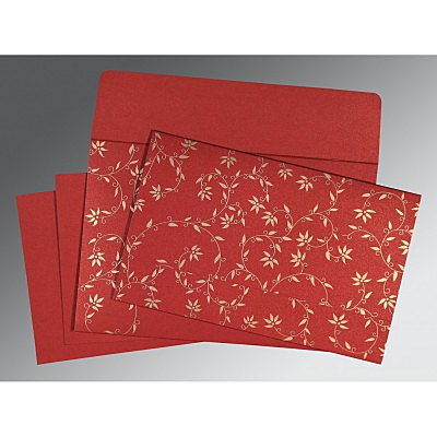Red Shimmery Floral Themed - Screen Printed Wedding Invitation : ARU-8226G - IndianWeddingCards