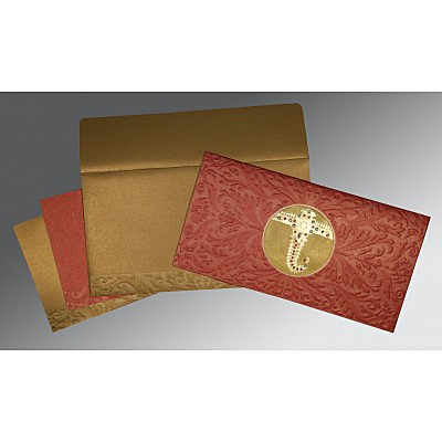 Red Shimmery Foil Stamped Wedding Invitations : AG-1463 - A2zWeddingCards