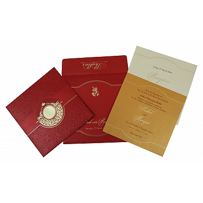Red Shimmery Foil Stamped Wedding Invitation : AS-1784 - A2zWeddingCards