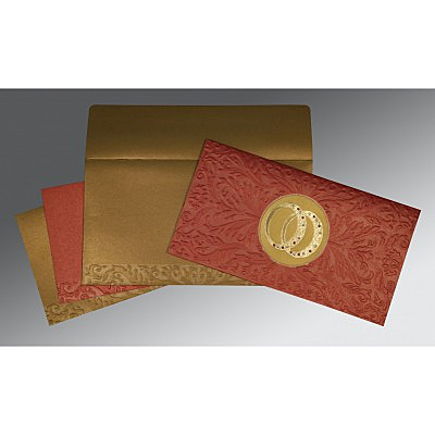 Red Shimmery Foil Stamped Wedding Invitations : ASO-1465 - A2zWeddingCards