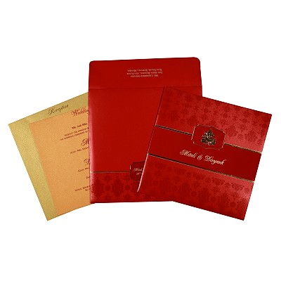 Red Shimmery Foil Stamped Wedding Invitations : AW-2292 - A2zWeddingCards