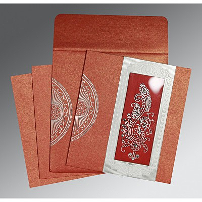 Red Shimmery Paisley Themed - Foil Stamped Wedding Invitation : AC-8230C - IndianWeddingCards