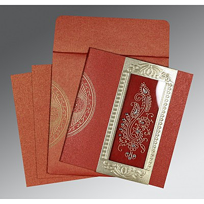 Red Shimmery Paisley Themed - Foil Stamped Wedding Invitation : AC-8230N - IndianWeddingCards