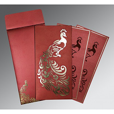 Red Shimmery Peacock Themed - Laser Cut Wedding Invitation : AD-8255A - IndianWeddingCards