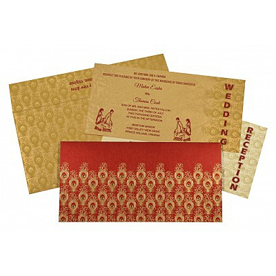 Red Shimmery Peacock Themed - Screen Printed Wedding Invitations : AW-8256C - A2zWeddingCards