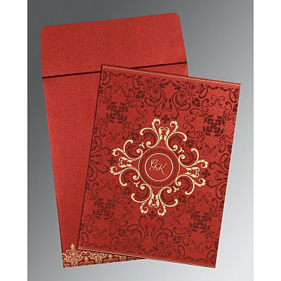 Red Shimmery Screen Printed Wedding Card : AG-8244E - IndianWeddingCards