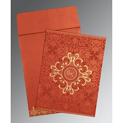 Red Shimmery Screen Printed Wedding Card : AIN-8244L - IndianWeddingCards