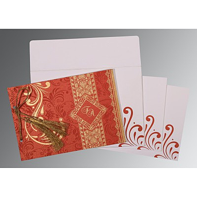 Red Shimmery Screen Printed Wedding Card : ASO-8223F - IndianWeddingCards