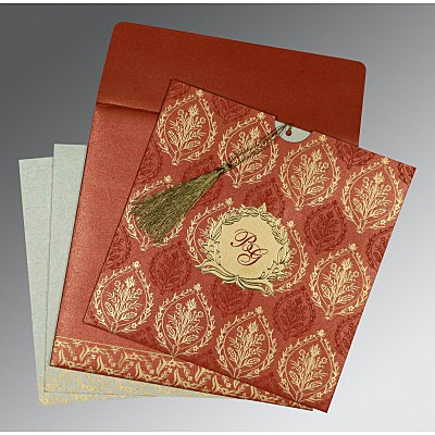 Red Shimmery Unique Themed - Foil Stamped Wedding Card : AC-8249A - IndianWeddingCards