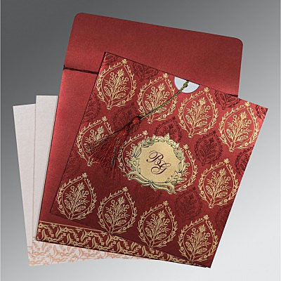 Red Shimmery Unique Themed - Foil Stamped Wedding Card : AG-8249L - IndianWeddingCards