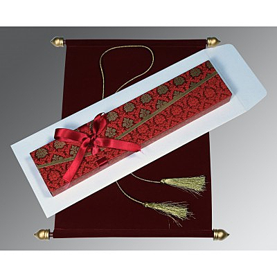 Red Velvet Wedding Invitation : ASC-5016F - IndianWeddingCards