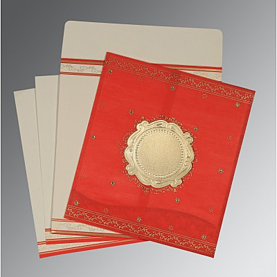 Red Wooly Embossed Wedding Invitation : AD-8202H - IndianWeddingCards
