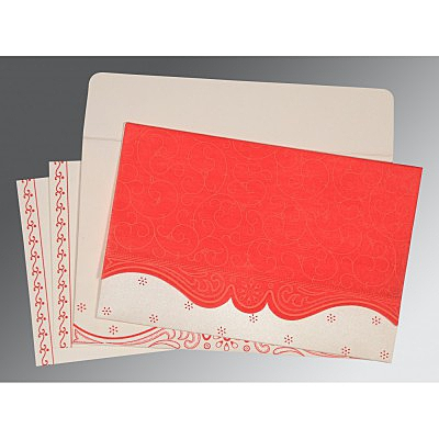 Red Wooly Embossed Wedding Invitation : ARU-8221J - IndianWeddingCards